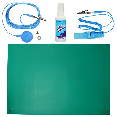 ESD High Temperature Mat Kit | 16' x 24' | Emerald Green | with (1) ESD Wrist Strap, (1) ESD Grounding Cord, (1) Bottle of Mat Cleaner