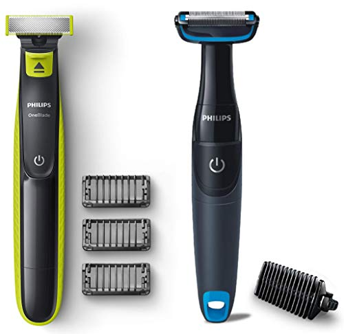 Philips QP2525/10 OneBlade Hybrid Trimmer and Shaver with 3 Trimming Combs (Lime Green) & Philips BG1025/15 Showerproof Body Groomer for Men