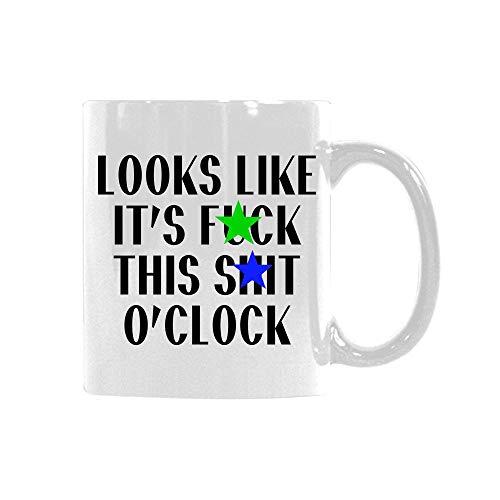 N\A Divertido Lema Parece 'S FCK Este SHT O' Reloj Custom.Mug Taza de café de cerámica Divertida Taza única Presente para el Aniversario de cumpleaños de Navidad