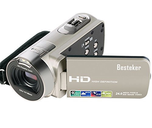 Camcorder, Besteker HD 1080P 24MP 16X Digital Zoom Video Camcorders with 270 Degree Rotation Screen