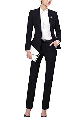 SK Studio Femmes Blazer Tailleurs Pantalons De Bureau 2 Pièces Revers Casual Costume Manteau Noir 38