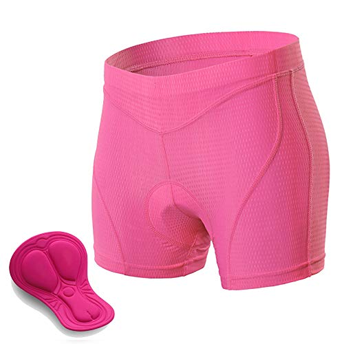 Padded Cycling Shorts Women, 3D Gel Shockproof Bike Underwear, Moisture Wicking Breathable Quick Dry Undershorts High Waist Underpants for Road Bike, Bicycle,Pink,XXL