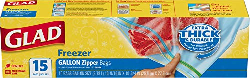 Glad Zipper Freezer Storage Plastic Bags - Gallon - 15 Count (Package May Vary)