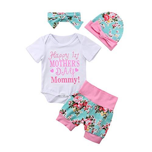Conjunto de 4 piezas para recién nacido y niña, para el primer día de la madre, con pantalones cortos florales y sombreros para la cabeza