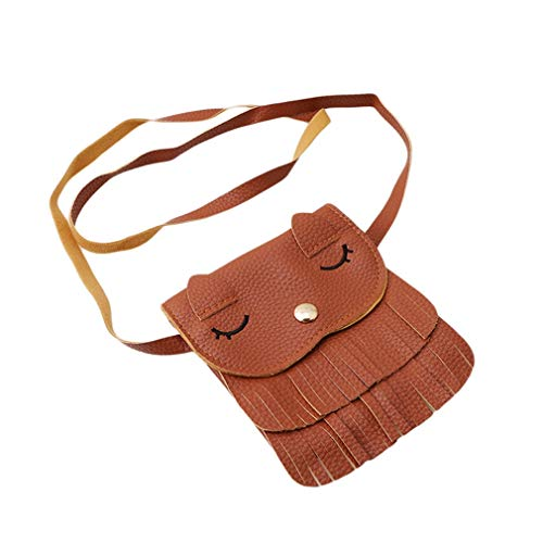 #N/A Growrak Casual Fashion Lovely Cat Style Crossbody Bag Faux Soft Leather Mini Shoulder Bag,Coffee color