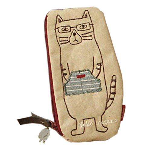idiot étudiant chat poche crayon broderie japonaise sac cosmétique Beige
