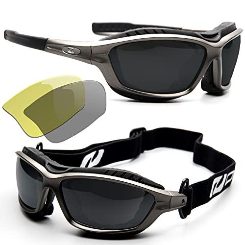 Daisan Sportbrille mit Wechselgläsern, Band, Windschutz Brillenträger Opticlip