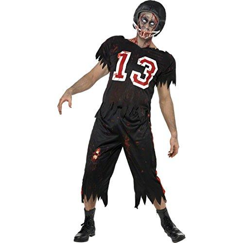 Balón de fútbol Colour Negro Disfraz de Zombi L 52/54 fútbol Traje footballerspaparazzi de Miedo Disfraces Disfraz Futbolista Atletas de Halloween