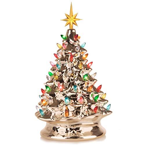 RJ Legend Christmas Mini Ceramic Tree Festive Lighted Christmas Tree Dcor Vintage Tabletop...