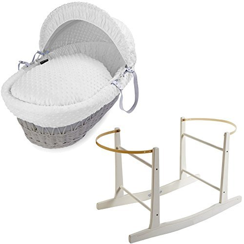 Grey Wicker White Dimple Moses Basket with White Rocking Stand
