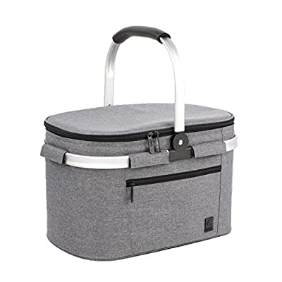 ALLCAMP Large Size Picnic Basket Cooler portable Collapsible 22L Insulated Cooler Bag with Sewn in Frame (Gray)
