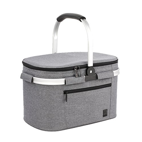 ALLCAMP Insulated Cooler Bag portable Collapsible Picnic Basket Cooler with Sewn in Frame (Medium Gray)
