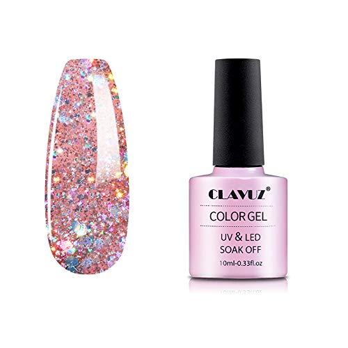 Gel Nail Polish,CLAVUZ Soak Off Glitter Gel Nail Lacquer Nail Art Manicure 10ML