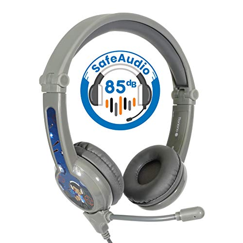 ONANOFF BuddyPhones Galaxy, Volume-Safe Gaming Headset for Kids, Detachable 3.5mm Jack with High-Performance BeamMic, Perfect for Gaming on a PS4, Xbox One, Nintendo Switch, or PC, Grey