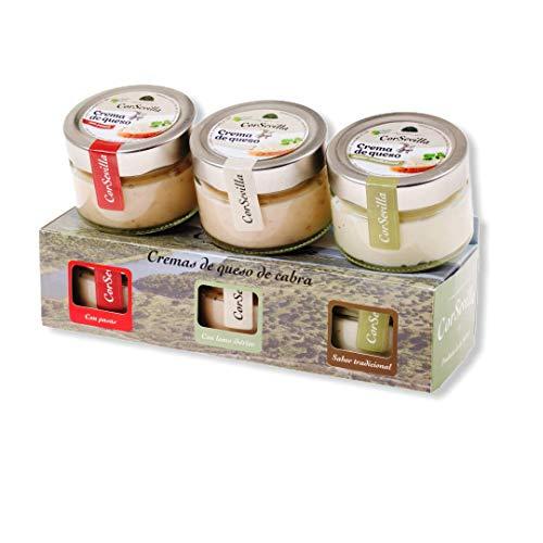Estuche de cremas de queso de cabra para untar (sabor tradicional, lomo ibérico y pasas) CORSEVILLA