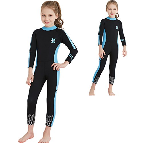 Dyung Tec Kids Wetsuits 2.5MM Neoprene for Girls Keep Warm One Piece Long Sleeves UV Protection Children Swimwear (Blue Black, L)
