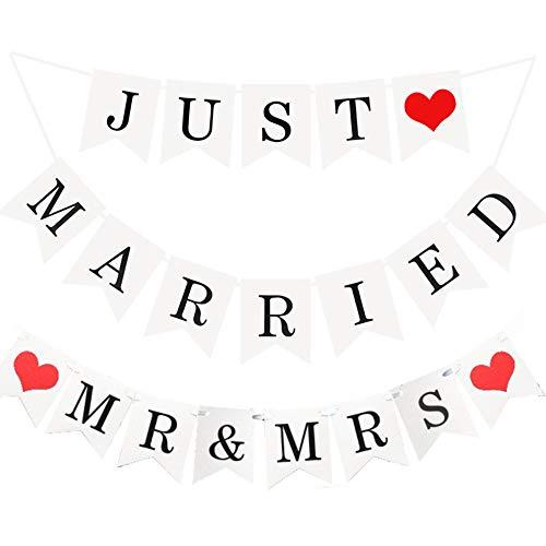 Anyasen just married girlande mrs & mrs Rustikal Hochzeitsdeko wimpelkette just married Wimpelgirlande Banner Flaggen mit Seil, Dekoration für Hochzeit Fest oder Foto Photo Booth Fotografie