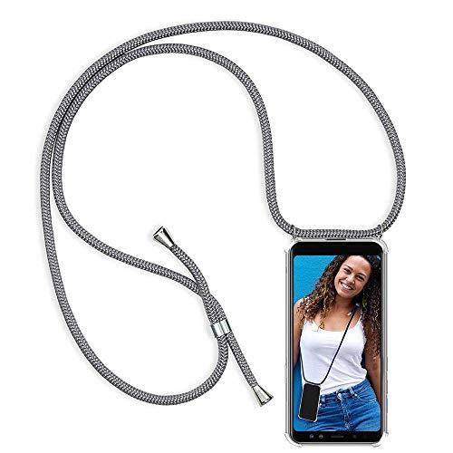 Funda Colgante movil con Cuerda para OnePlus 3, Carcasa Transparente de TPU con Ajustable Cordón [Anti-Choque] Anti-rasguños Suave Silicona Caso - Gris