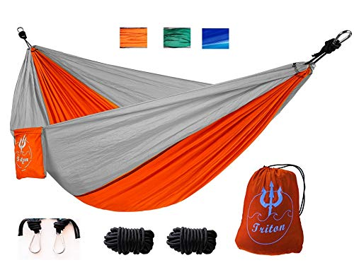 Triton Outfitters USA Portable Orange Camping Hammock Light Weight Nylon Indoor Outdoor Tree Straps Backpacking Hiking Travel Hammock