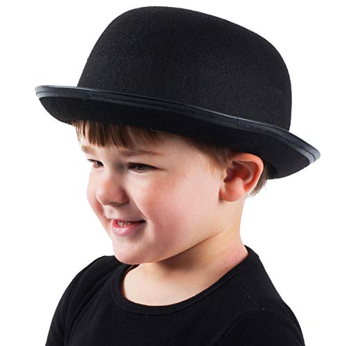 Funny Party Hats Kids Derby Hat - Bowler Hat for Kids - Black Bowler Hat - Felt Bowler Hat - Children's Costume Hats