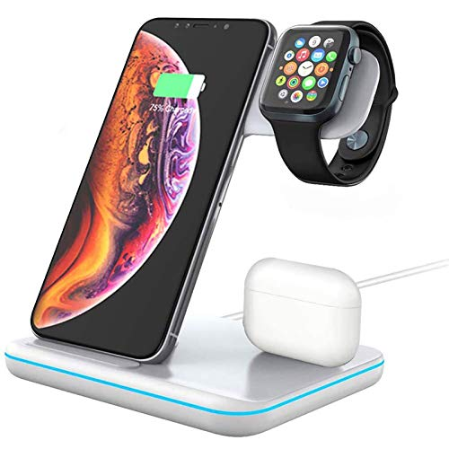 DoSHIn 3 in 1 Wireless Charger Station 15W/10W Fast Charging Dock Station Compatible with iPhone 12/12pro/11/11 Pro/X/XS,Airpods 2/Pro; IWatch Series 6/5/4/3/2/Apple Watch SE and Samsung Galaxy/Note