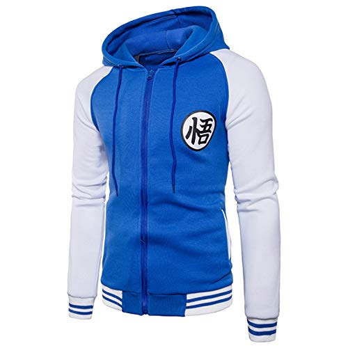 Cárdigan con capucha para hombre de Otoño/Invierno con bloque de color con capucha Goku Pullover Hip Hop Streetwear chaqueta suelta