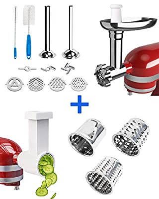 X Home meat Grinder & Slicer Shredder Attachment for KitchenAid Stand mixer, Food Grinder with Sausage Tubes