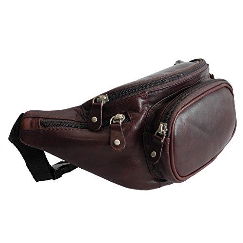 Branco - sehr feine echt Leder Bauchtasche Gürteltasche Reisetasche für die Reise Urlaub mit reissfestem Nylon Riemen in versch. Farben - präsentiert von ZMOKA® (Braun)