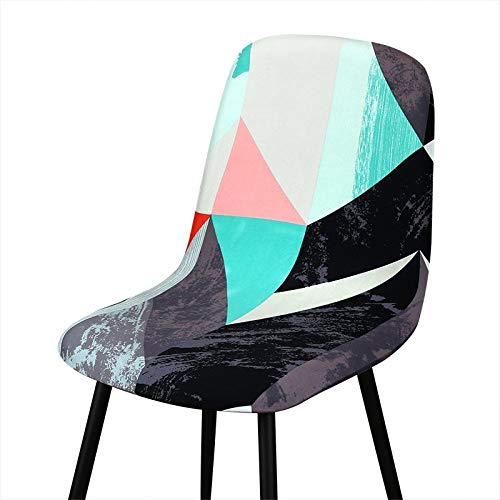 Qier Stuhlhussen Stretch Shell Chair Schonbezug, Leaves Printed Seat Dekor, Hotelbüro Bar Chair Protector Covers, Weiß, 4 STK
