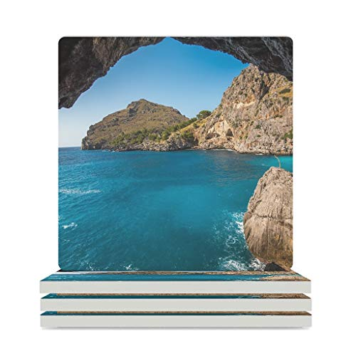 Ceramic Coasters Sea Bay Water Rocks Landscape Squares Coasters Set of 4 / 6 Absorbent Coasters with Cork Back for Glasses Cup White 6 Pieces