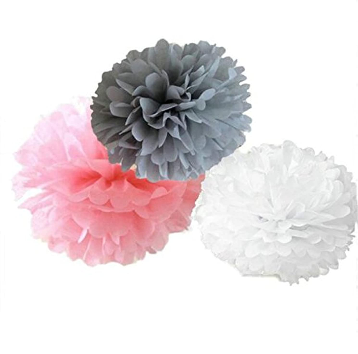 Since ? 12 Mixed White Gray Pink Party Tissue Pompoms Paper Flower Pom Poms Wedding Birthday Party Christmas Girls Room Decoration SIC-01699 unkikohotcd5259