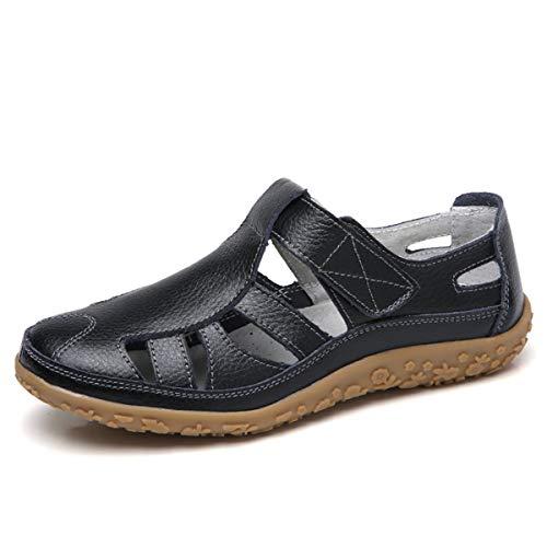 gracosy Sandalias para Mujer de Cuero Punta Cerrada Mocasines Verano Plano Zapato Ahuecar Playa Sandalias Slip On Cómodo Retro Original Manual