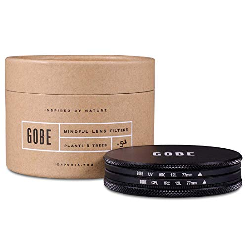 Gobe 77mm UV + Circular Polarizing (CPL) Lens Filter Kit (1Peak)