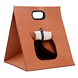 Watkings Pet Cats Bags, Folding Portable Wool Felt Cave Bed, Travel Bag for Cats Puppy Kitten