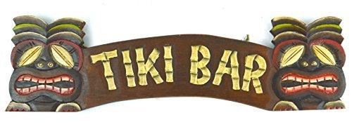 Zhaoshoping - Cartel de Tiki Tallado a Mano con Dos máscaras 3D de Arte Hawaiano con Frases Decorativas para la Puerta