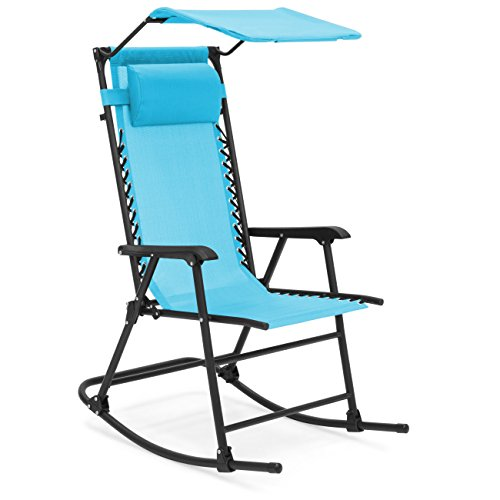 Best Choice Products Foldable Zero Gravity Rocking Patio Chair w/ Sunshade Canopy - Blue