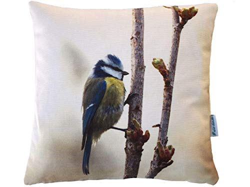 Meisen Kissen, 40x40 cm Hülle, Baumwolle, Motiv Natur Vogel, Deko, Sofa, Garten