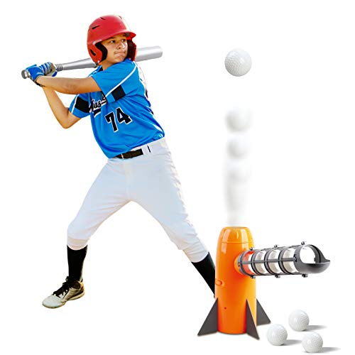 NIGOE Toy Baseball Set for Kids, Automatic Baseball Pitching Machine with 8 Balls, Outdoor Educational Sports Game for Boys, Girls, Toddlers 5 6 7 8