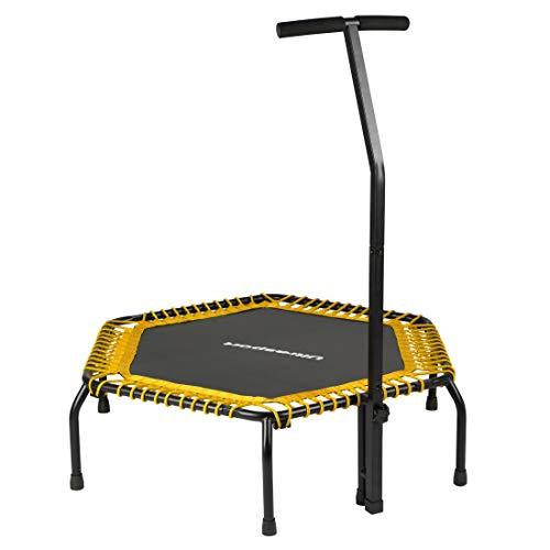 Ultrasport Cama elástica fitness, manillar estable y suspensión con cuerdas de goma para la máxima seguridad, aparato deportivo adecuado para el hogar, amarillo