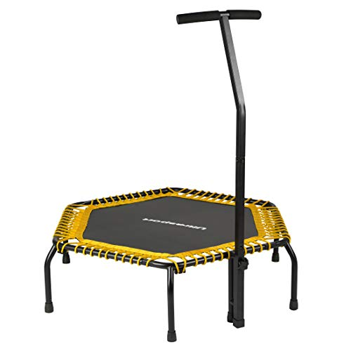 Ultrasport Fitness Trampoline, Sports Trampoline with Stable Handle Bar and Rope Suspension for Maximum Safety, Indoor Sports Trampoline for Home Use, Jumping Fitness in Two Variations, Yellow (Soft)
