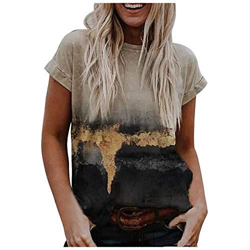 Sexy Sommer Oberteil Lose T-Shirt Landschaft Drucken Mode Top T-Shirt All-Match Elegante Tunika Rundhals Kurzarm Sweatshirt Komfortabel Basic Bluse Henley Shirts