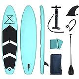 ZPPZ Tabla Sup Hinchable, Paddle Surf Hinchable Tabla Surf Set 320x76x15cm Paddle Remo de Ajustable Inflable Sup, Bomba, Aleta Central Desprendible Surf Leash Mochila Kit de Reparación