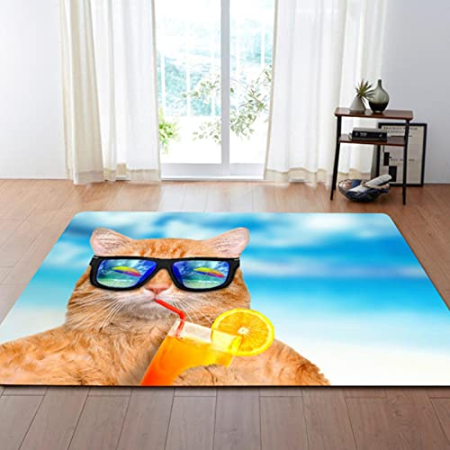 PHhomedecor Fluffy 3D Cat Carpet, Soft and Comfortable Area Mat For Children's Bedroom, Non-Slip and Washable 180X200cm