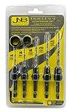 JNB Pro Wood Countersink Drill Bit Set - 5 Pc Adjustable Countersink...
