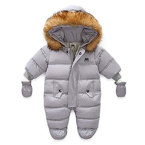 Bebé Mono Invierno para Recién Nacido Mameluco de Manga Larga y Capucha con Botines y Guantes Traje de Nieve con Relleno de Algodón Ropa de Una Pieza para Niños Niñas (Gris, 12-18 Meses)