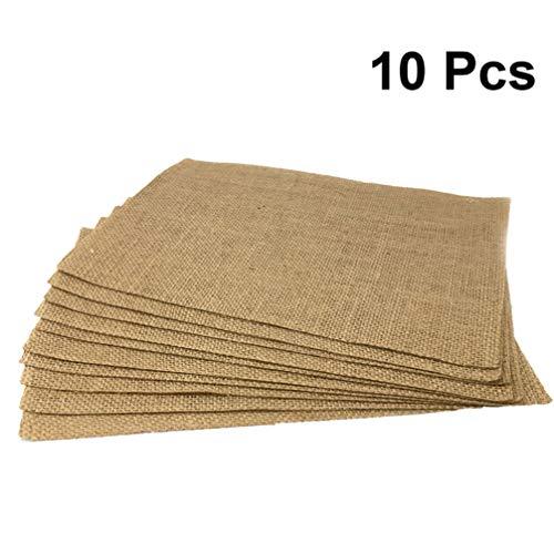 Amosfun - 10 manteles individuales de arpillera para fiestas, estilo vintage, manteles individuales de lino y algodón, posavasos, manteles para decoración de bodas