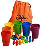 California Basics Rainbow Colored Counting Bears with Cups, 72-pc Colorful Counting & Sorting Toys for Kids, Colorful Educational Toys with Carrying Bag