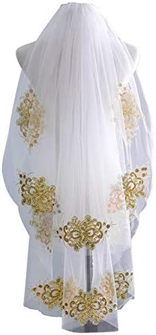 EllieHouse Women s 2 Tier Short Gold Lace Wedding Bridal Veil With Comb HD23 Ivory product image