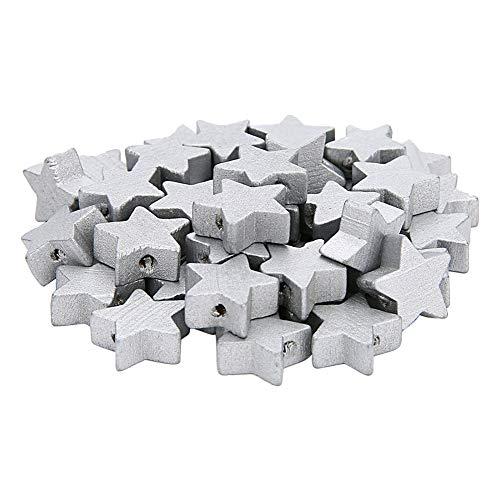 Demarkt - Perlas de madera de cinco puntas, estrella de madera, para manualidades, fabricación de joyas y para niños, 100 unidades, plata, 1.5cm/2mm