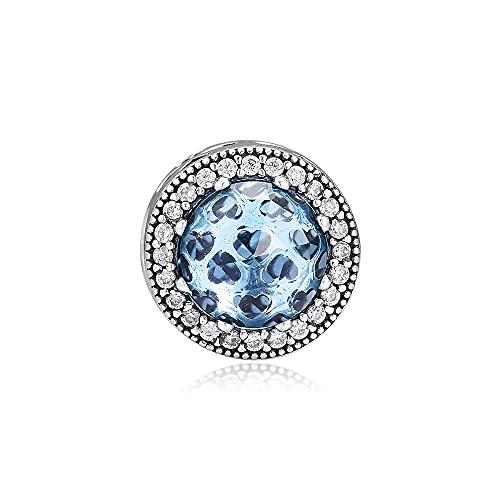 LILANG Pandora 925 Jewelry Bracelet Natural Ckk Logo Sterling Silver Radiant Heart Bead Cuentas de Cadena de Serpiente con Aqua Blue Mujeres Regalos de Bricolaje